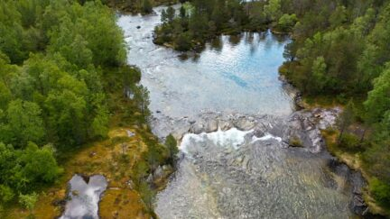 Free stock footage: Aerial view of a river in the green forest