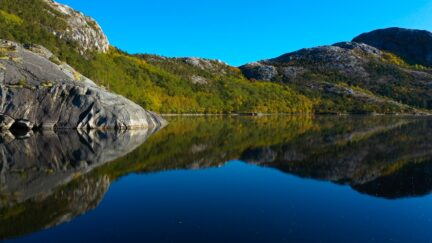 Free stock footage: Calm lake in the autumn forest
