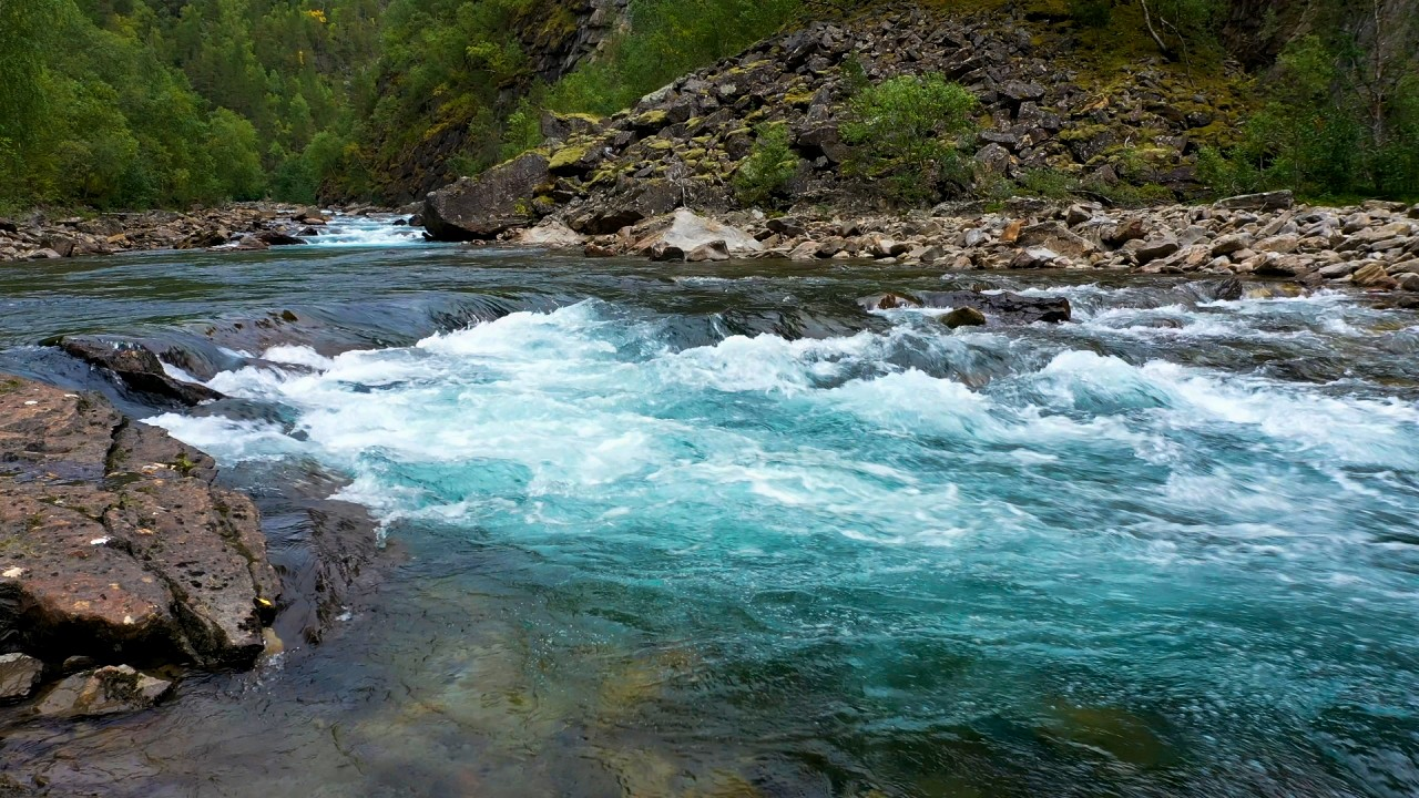 Free stock footage: Closeup view of a clear river flowing