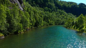 Free stock footage: Flying above a river in the summer forest