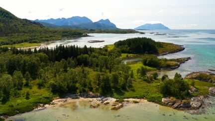 Free stock footage: Green coastline on a summer day