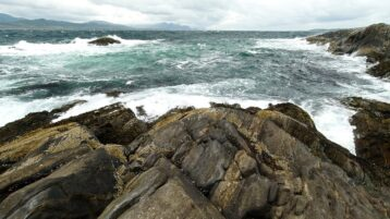 Free stock footage: Ocean waves on an overcast day