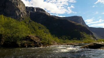 Free stock footage: River and mountains on a sunny spring day
