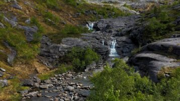 Free stock footage: River and waterfalls in the mountain