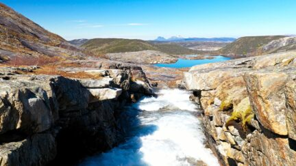 Free stock footage: River flowing in a rocky landscape