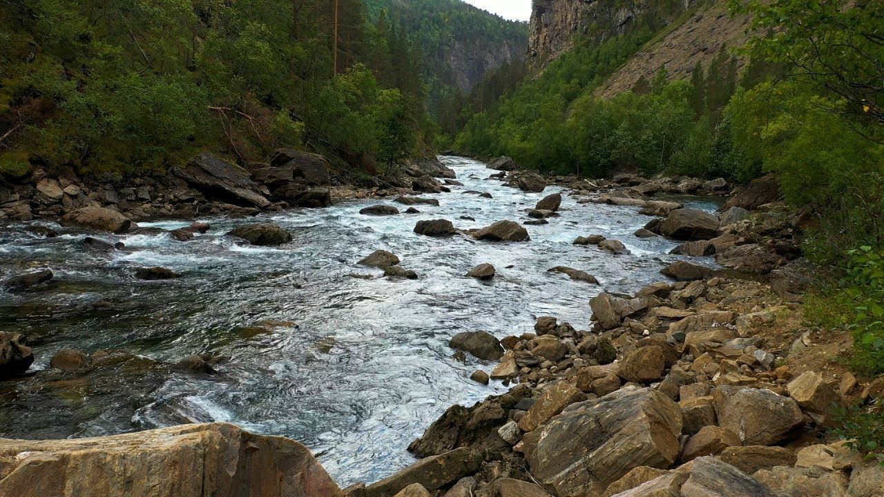 Free stock footage: River in a canyon on a windy day