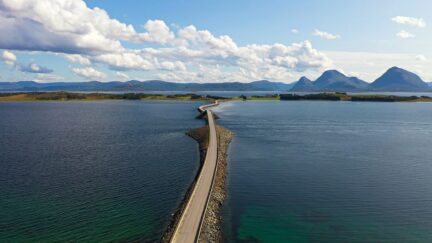 Free stock footage: Road and bridge crossing the sea