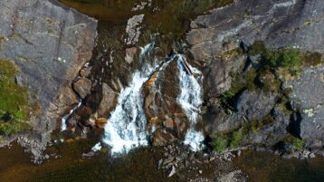 Free stock footage: Small waterfall seen from above