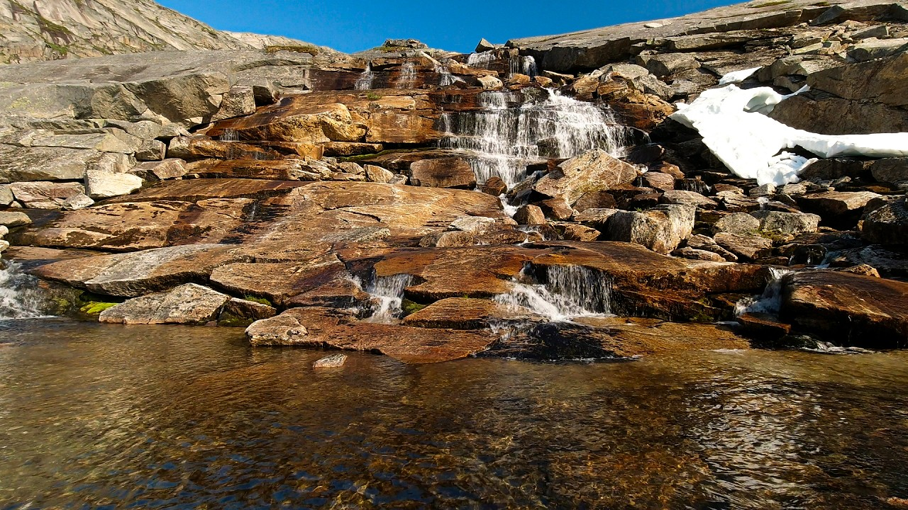 Free stock footage: Small waterfalls in the mountainside