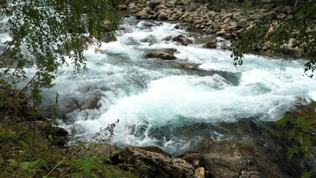 Free stock footage: Strong river in a rocky landscape