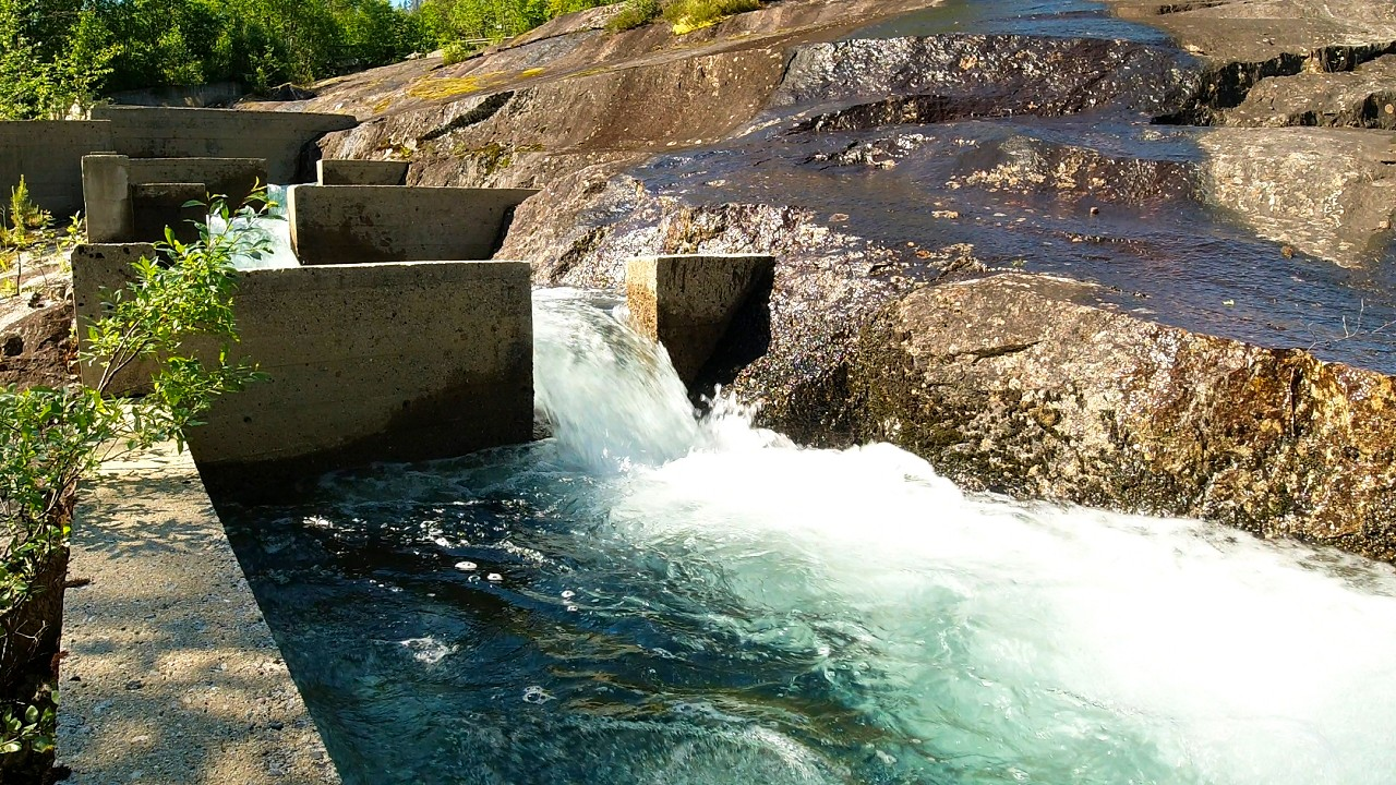 Free stock footage: Water flowing in a fish ladder